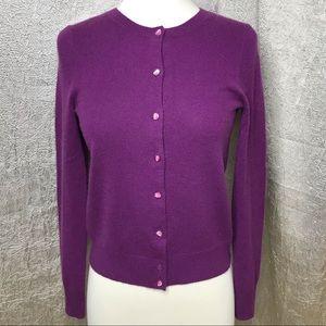 J. Crew Purple Cashmere Button Up Cardigan Size XS